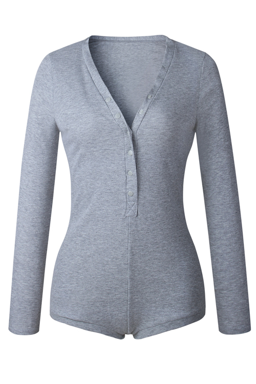 Sexy V Neck Buttons Design Grey Cotton Blends One-piece Skinny Jumpsuits