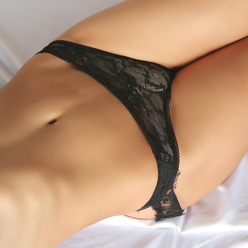 Sexy Lace Trim Patchwork Black Panties