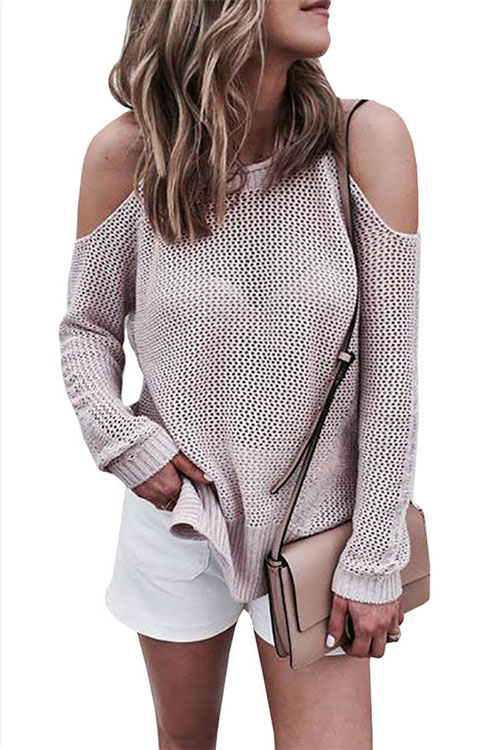 Lovely Leisure Round Neck Hollow-out Pink Cotton Blends Sweaters
