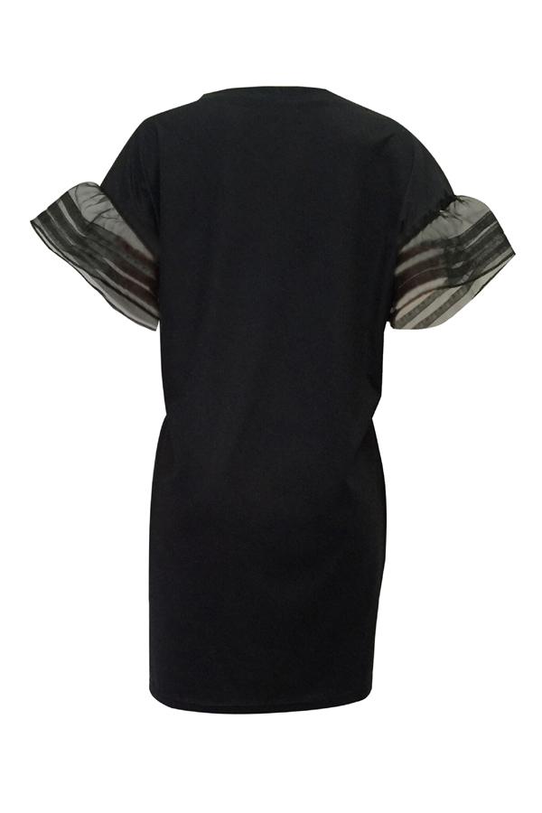 Euramerican cuello redondo impreso mini vestido de poliéster negro
