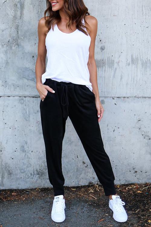 Leisure Elastic Waist Lace-up Black Polyester Pants