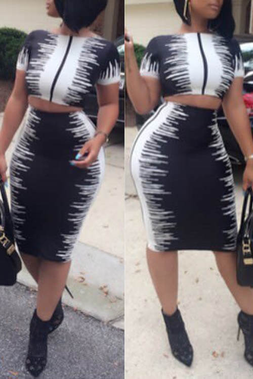 Lovely Stylish Round Neck Black-white Printed Polyester Two-piece Skirt Set