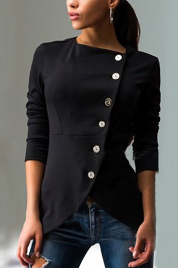 Euramerican Round Neck Asymmetrical Black Cotton Coat