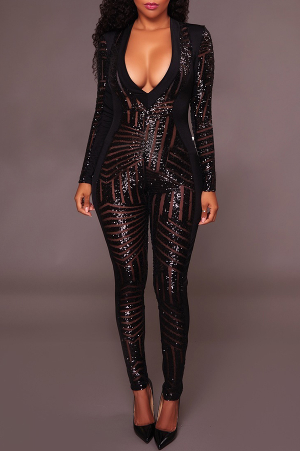Sexy V Neck See-Through Black Polyester One-piece Skinny Jumpsuits<br>