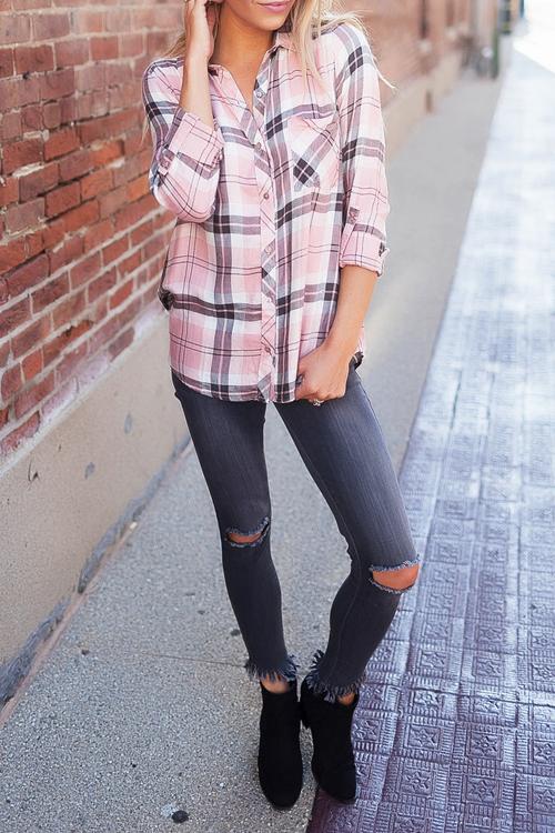 Stylish Turndown Collar Long Sleeves Striped Blending Shirts