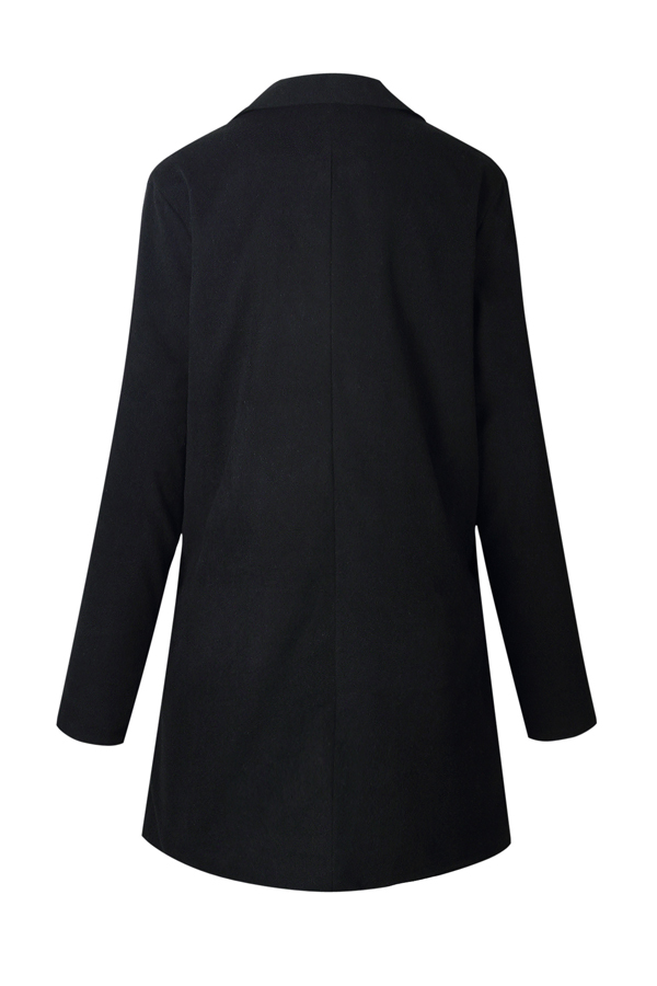 Fashion Turndown Collar Long Sleeves Black Polyester Blazer