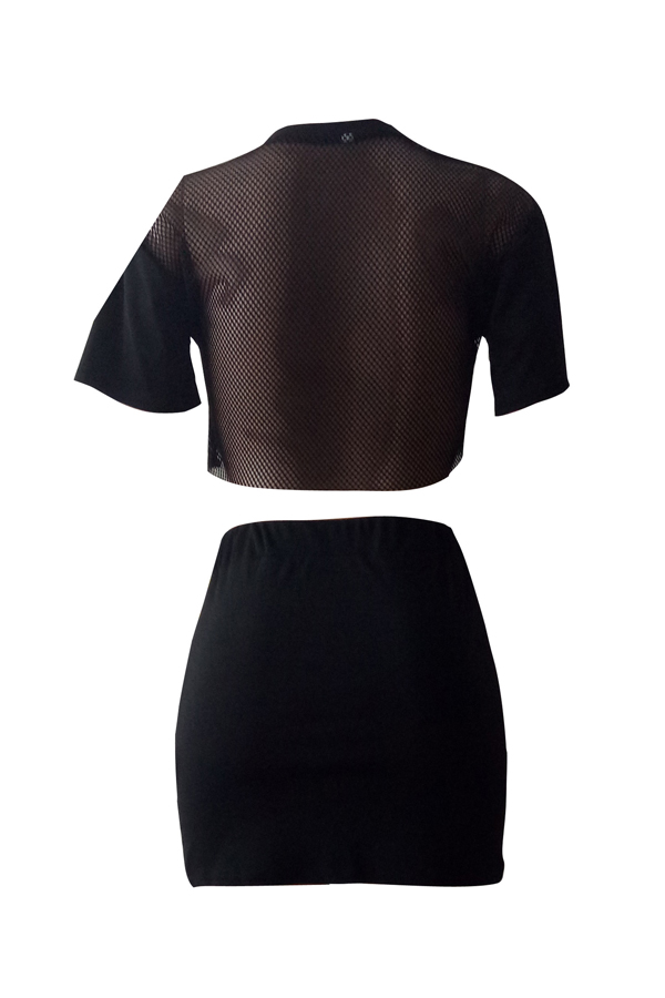 Sexy Round Neck Printed Hollow-out Black Polyester Two-piece Skirt Set