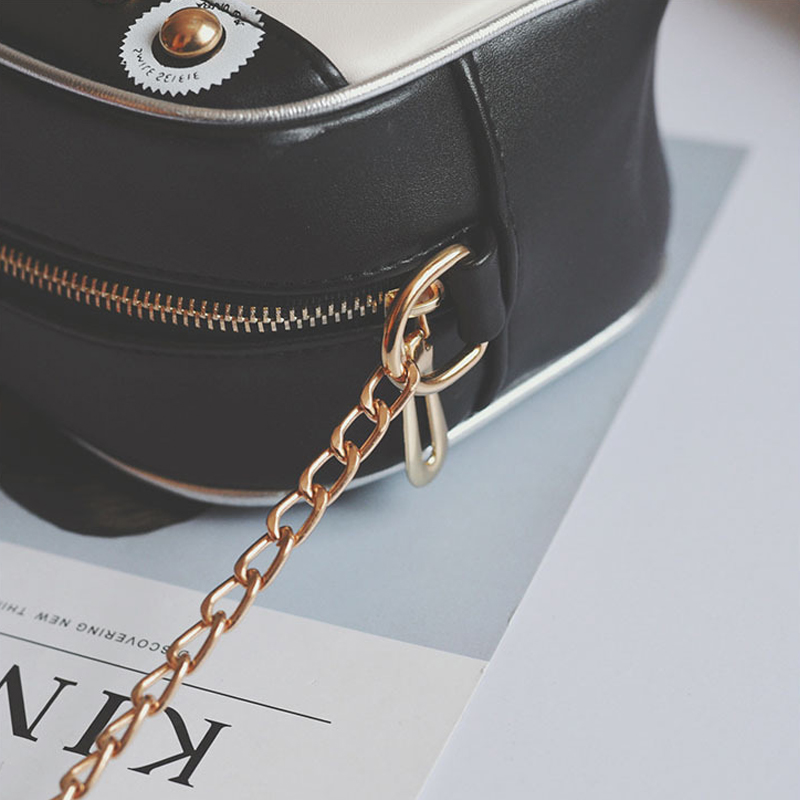 Trendy Zipper Design Black PU Crossbody Bags