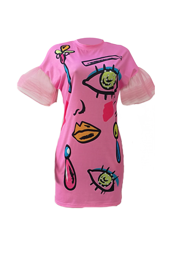 Maniche corte Euramerican maniche corte stampate in abito rosa poliestere mini guaina