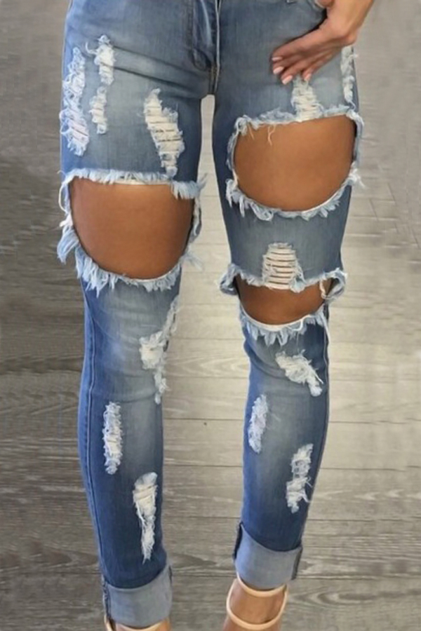 Agujeros De Cintura Alta Euramerican Agujeros Azules Pantalones De Mezclilla