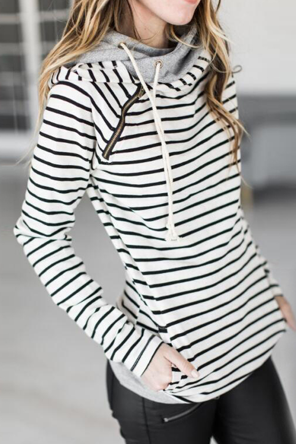 Leisure Long Sleeves Striped White Polyester Pullovers