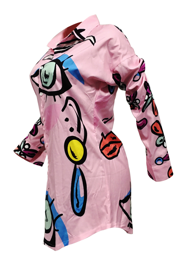 Collar de moda Turndown impreso rosa vestido de longitud de la rodilla de poliéster