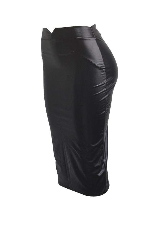 Falda Larga Hasta La Rodilla Con Cintura Alta De Cuero Negro A La Moda