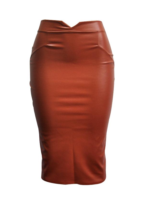 Trendy High Waist Coffee Leather Sheath Knee Length Skirts