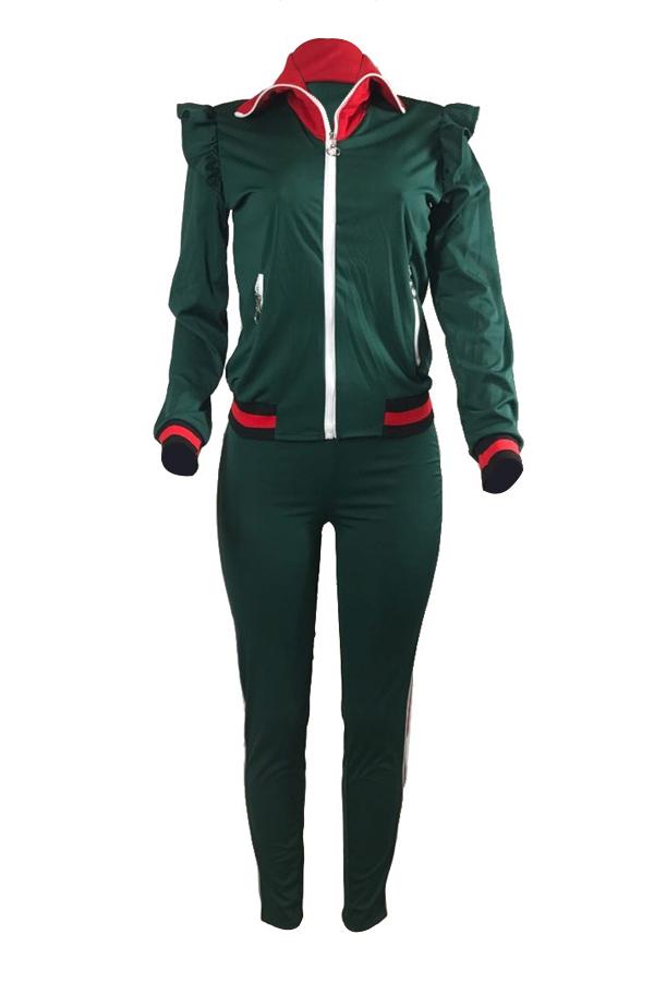 Freizeit Umlegekragen Lange Ärmel Reißverschluss Design Grün Baumwolle Zweiteilige Hose Set