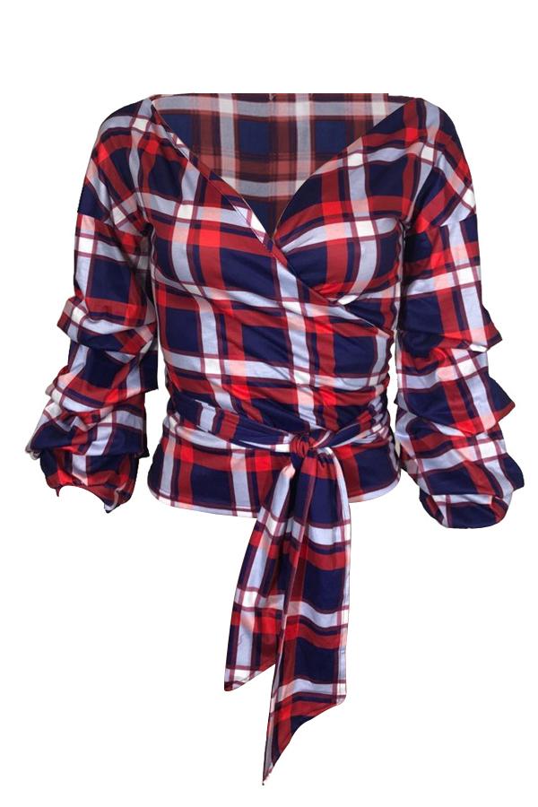 Na Moda Panos De Ombro De Ombro De Pescoço Vermelho Camisas De Poliéster