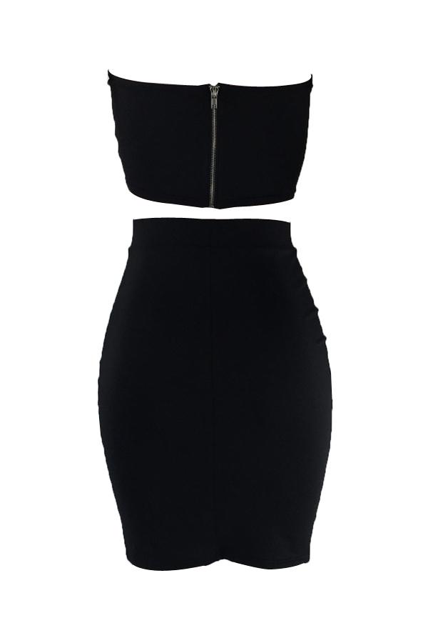Sexy Dew Shoulder Zipper Design Black Cotton Conjunto de saia de duas peças