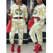 Trendy Long Sleeves Printed Patchwork White Knitting Two-piece Pants Set
