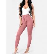 Euramerican High Waist Lace-up Pink Polyester Pants