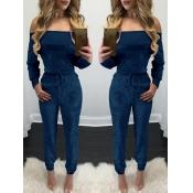 Euramerican Dew Shoulder Blue Velvet One-piece Jumpsuits