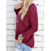 Euramerican V Neck Long Sleeves Wine Red Knitting