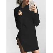 Euramerican Turtleneck Long Sleeves Black Knitting