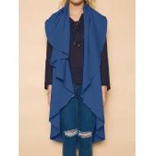 Leisure Turndown Collar Asymmetrical Blue Polyeste