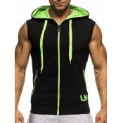 Leisure Hooded collar Black+Green Cotton Waistcoat