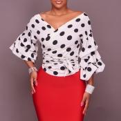 Trendy V Neck Long Sleeves Falbala Design White Co