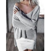 Trendy V Neck Long Sleeves Asymmetrical Grey Cotto
