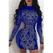Sexy Hollow-out Rhinestone Decorativo Poliéster Azul Mini vestido