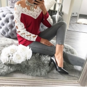 Leisure Long Sleeves Lace Trim Patchwork Wine Red