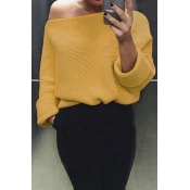 Euramerican Round Neck Long Sleeves Yellow Acrylic