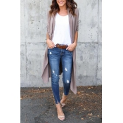 Leisure Long Sleeves Light Gray Cotton Cardigans