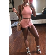 Sexy U-shaped Neck Pink Polyester Two-piece Shorts