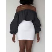 Leisure Dew Shoulder Dark Grey Polyester Sheath Mini Dress