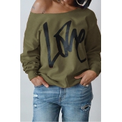 Leisure Round Neck Long Sleeves Letters Printing Army Green Cotton Pullover