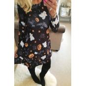 Find Halloween Printing Black Mini Dress(Non Posit