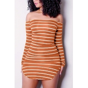 Euramerican Dew Shoulder Striped Orange-white Milk Fiber Sheath Mini Dress