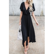 V Neck Black Irregular Maxi Dress