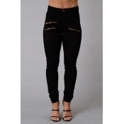 Stylish High Waist Zipper Design Black Denim Pants