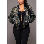 Trendy Round Neck Camouflage Printed Polyester Jac