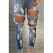 Euramerican High Taille gebrochene Löcher Blue Denim Hose