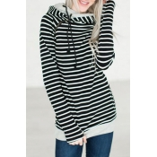 Leisure Long Sleeves Striped Black Polyester Pullo