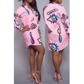 Trendy Turndown Kragen gedruckt rosa Polyester knielangen Kleid
