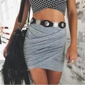 Leisure Asymmetrical Grey Cotton Blend Mini Skirts