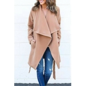 Trendy Turndown Collar Lace-up Light Tan Wool Coat