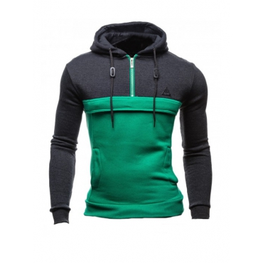 Leisure Long Sleeves Patchwork Green Cotton Hoodie for men