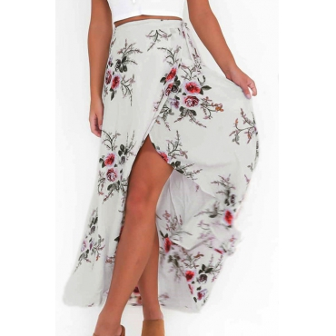 Trendy High Waist Printed Asymmetrical White Polyester Ankle Length Skirts