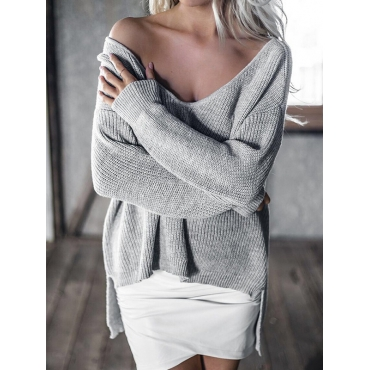 Trendy V Neck Long Sleeves Asymmetrical Grey Cotton Blends Sweaters